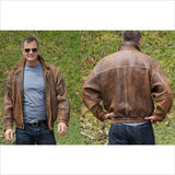 Robert Comstock Endurance Adventure Lambskin Leather BOMBER JACKET  Warm Browns Mens Size 42 Large