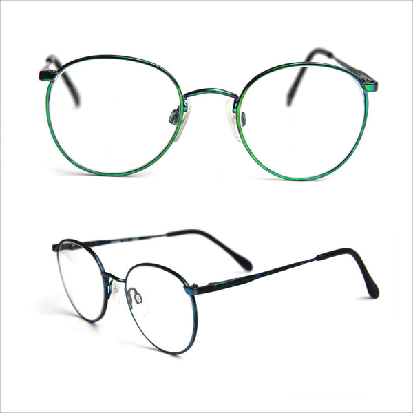 Round STEAMPUNK Rocker Eye Glasses Neon Green Blue Colorful JAPAN Frames Clear Demo and Reader Lenses Small Size
