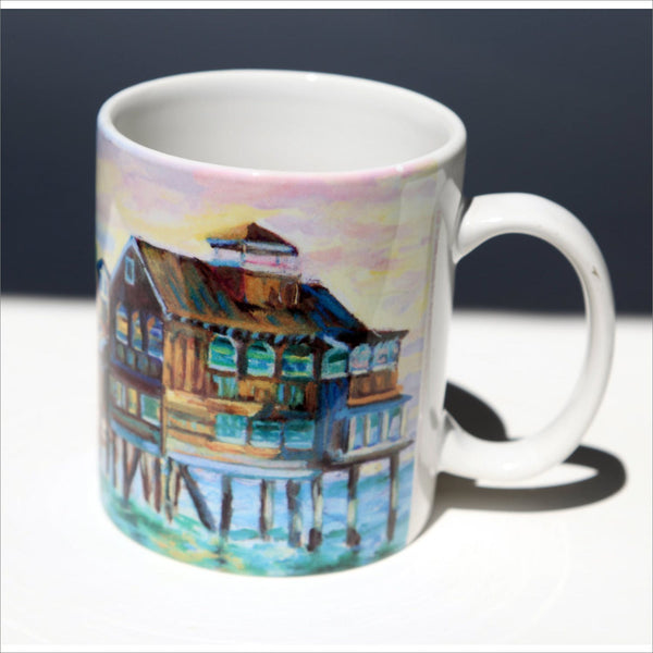 SAN DIEGO CALIFORNIA Travel Souvenir Mug Seaport Village Vibrant Pastel Watercolor Painting by Carol Loroch