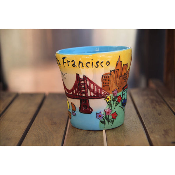 SAN FRANCISCO Pottery Mug Hand Painted 3D Protruding Trolley Golden Gate Bridge Flowers Sailboats Victorian Row Houses Letters