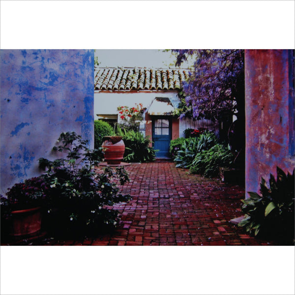 Santa Barbara CALIFORNIA Signed Photograph Print of Courtyard in Vibrant hues of Bright Neon Pink Blue Purple