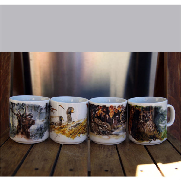 SELTMANN Weiden ROYAL PORZELLAN West Germany Collectible Wildlife Mugs Bull Elk Owl Geese Rabbits Set of 4 New Condition