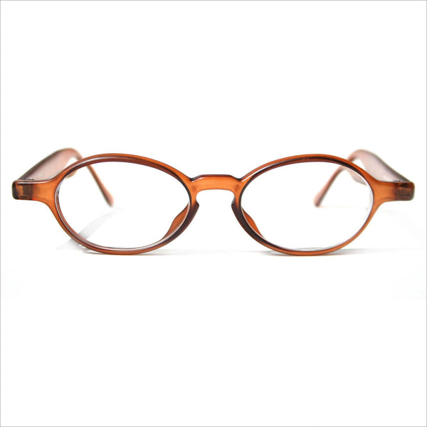 SENBICH Boho Hipster Eye Glasses Oval KEYHOLE Spectacle Eyeglasses in Cognac Brown Thick Frames for Men or Women
