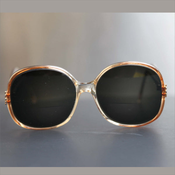 SERGIO VALENTE 80s round oversize RX sunglasses transluscent copper bronze color frame for Women with gold clam accents
