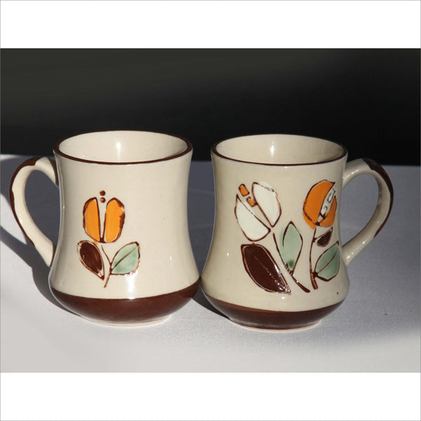 Set of 2 Vintage Pottery Mugs Hand Made Speckled Stone Citrus Orange and Chocolate Brown Venus Flytrap Flawers New Condition