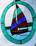 Stained Glass Sailboat Nautical Art Glass Home Cabin Decor Rainbow Sail Oval Window Lightcatcher