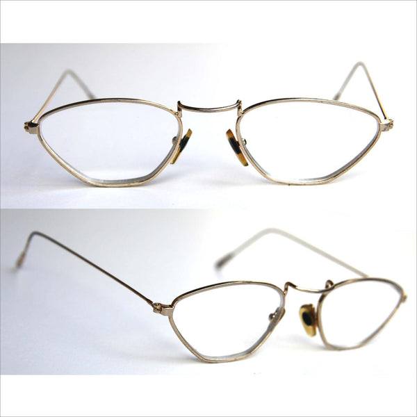 STEAMPUNK Trapezoid Wire Frame Eye Glasses Gold Lightweight Wire Rim RX Lenses Circa 1940 - 1950