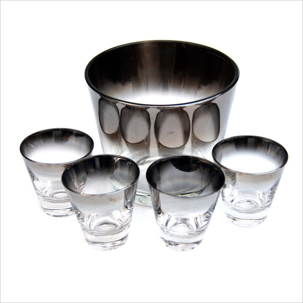 Sterling Silver Ombre Fade Liquor Glasses and Ice or Champagne Bucket Bar Glass Set Mad Men Mid Century Modern