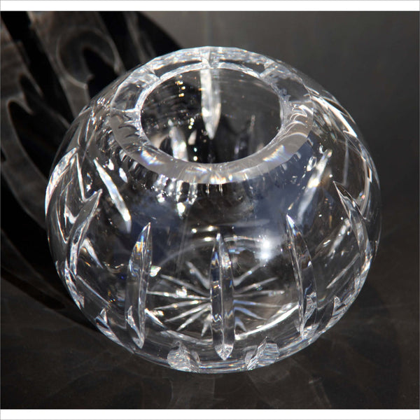 Thick Crystal Bowl Globular Cut Crystal Clean Modern lines Decorative Bowl Heavy Hand Made Home Deoor