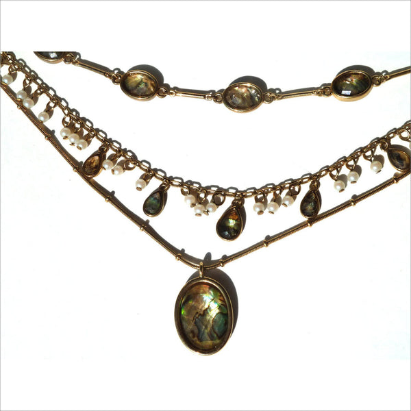 Tri Strand Gold Station Statement Choker Necklace with Faceted Abalone Teardrop & Oval Stones with Round Pearl Drops