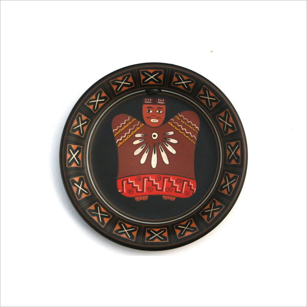 Tribal Art Plate Painted Warrior with Feather Necklace and Native Dress Signed SEGOVIA Decorative Plate