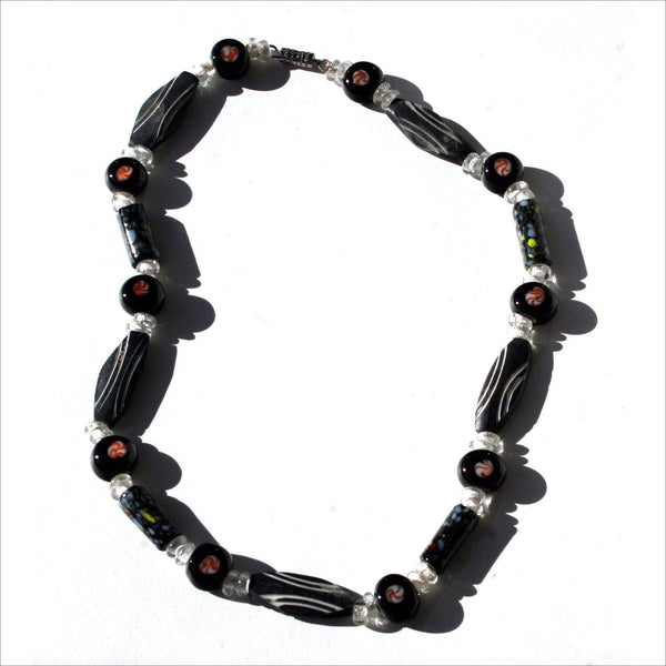 Tribal Murrini Glass & Resin Bead Choker Necklace Carving  Beach Hippie Casual Vibe for Men or Women