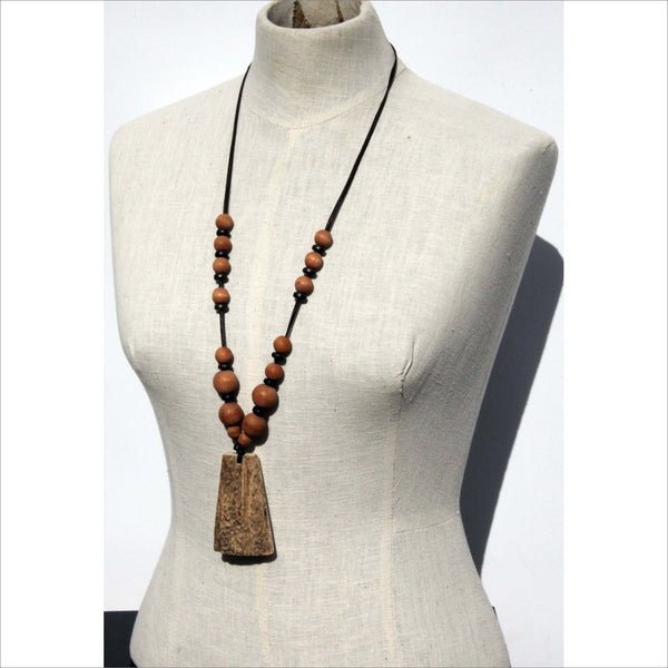 Tribal Necklace Antler Horn Cedar Bead Leather Tether with Silver Hook Claps Rustic Warrior Pendant Jewelry for Him or Her