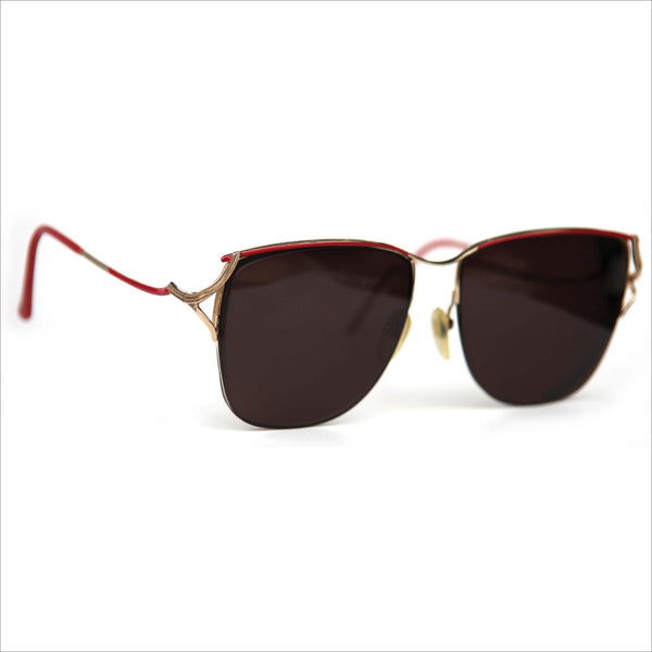 TURA MOD 4 Designer Vintage Eyewear Womens Red Gold Brow Half Rim Frame RX Sunglasses Floating Lenses Vintage Prescription Eyewear