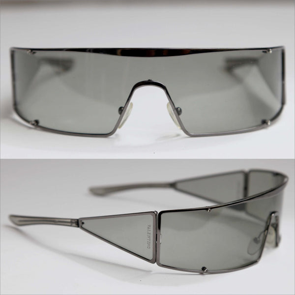 VALENTINO Wrap Sunglasses Slate Grey Couture High Fashion Shield Glasses Vintage Eyewear for Men or Women
