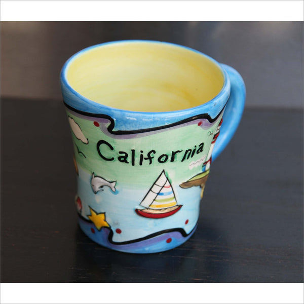 Vibrant Hand Painted CALIFORNIA 3D Mug with Sailboats Light House Ocean Seal Dolphin Flowers Sailboats Letters