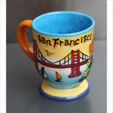 Vibrant Hand Painted San Francisco 3D Mug with Protruding Trolley Golden Gate Bridge Flowers Sailboats Victorian Row Houses Letters