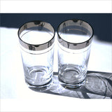Vintage 60s Silver Rimmed Tall Tumblers Mid Century Modern Bar Glasses for the Modern or Retro Home