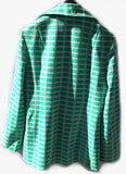 Vintage 70s Women Jacket Mad Men Plaid Blazer in Mint Green White and Powder Pink by Bodin Knits Chic Groovy Cool
