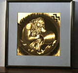 Vintage 80s Gold Optical Illussion Embossed Metal Illustration of Aquarius Water Sign Classic Zodiac Sign Art Framed January February