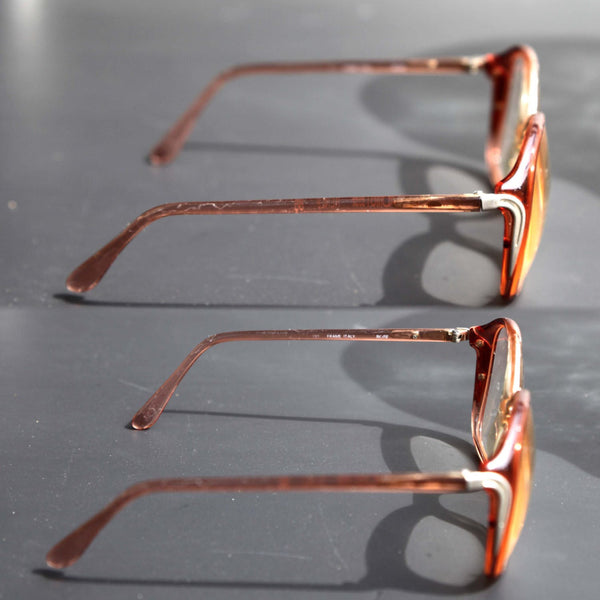 5f70b722822 ... Vintage 80s Luxottica Womens Eye Glasses Over Sized Arm Rx RENEE Frame  ITALY ROSE Bugeye Glasses ...
