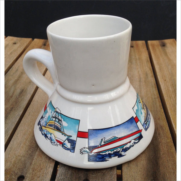 Vintage 80s No Spill Travel Mug for Coffee Tea Driving Sailing the Office Boating Fishing Motorboating Like New