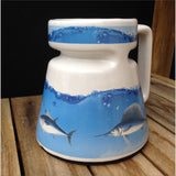 Vintage 80s No Spill Travel Mug for Coffee Tea Fishing Sailing Boating Fish Motorboating Like New