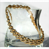 Vintage 80s Thick Gold Chain Choker Necklace Signed MONET Interlocking Links for Women