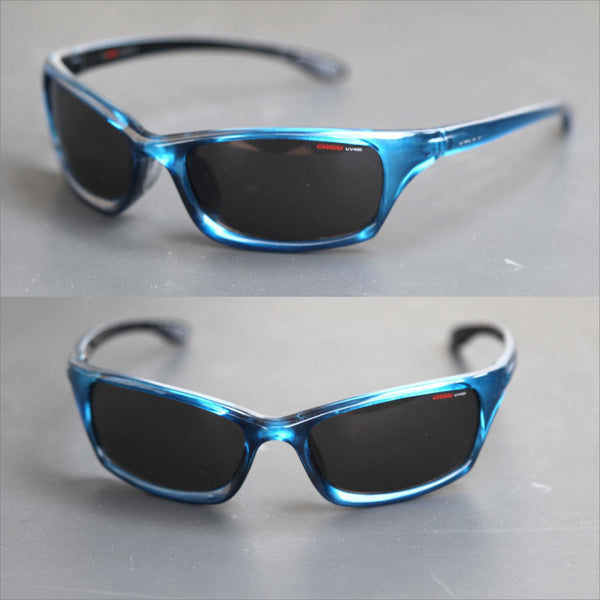 Vintage 90s CARRERA UV 400 Sports Wrap Blue Sunglasses High End Designer Athletic Sunnies for Men or Women