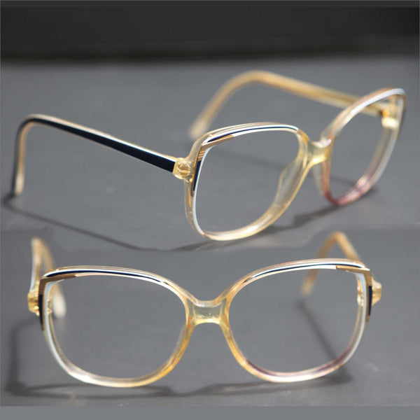 Vintage 90s Oversized Round Cat Eye Gold Navy and White Wayfarer RX Frames Prescription Glasses Men or Women Medium to Small Face Size 130mm