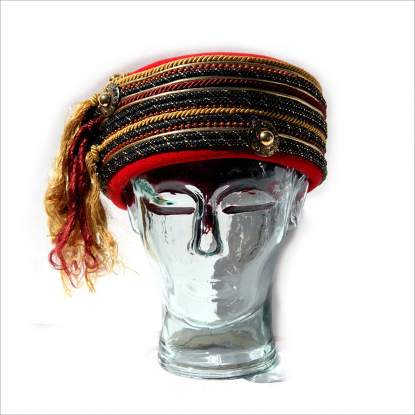 Vintage  80's Pill Box Hat Cherry Red Gold Black Coins Coils Beads and Tassels 100% Wool by Sonni of San Francisco