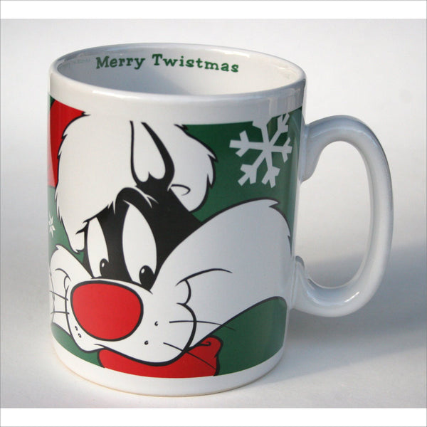 Vintage  Sylvester and Tweety Christmas Mug - Merry Twistmas - Warner Brothers Holiday Mug Authentic Collectible Stocking Stuffer