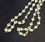 Vintage Austrian Crystal USA Full Lead Crystal Statement Station Necklace Iridescent Faceted Jewels on Gold Plated Chain