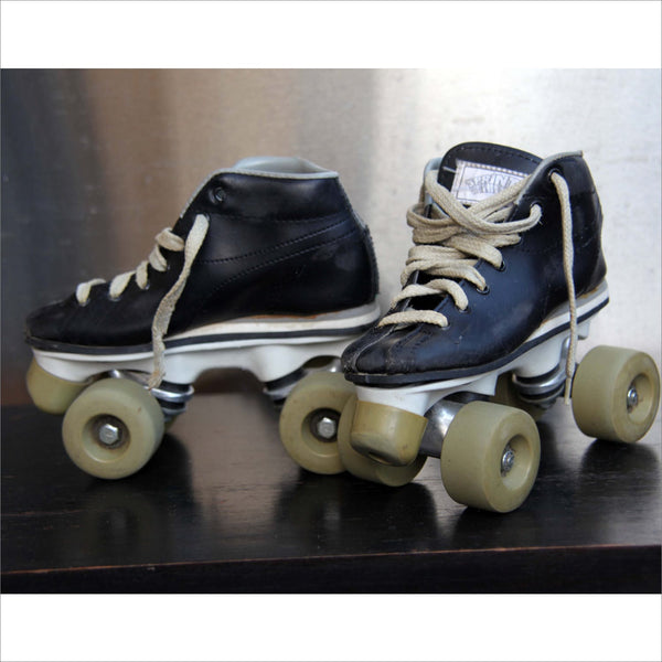 Vintage Boys Leather Roller Skates with Rubber Wheels and Stoppers Original Laces Sports Bar or Home Decor