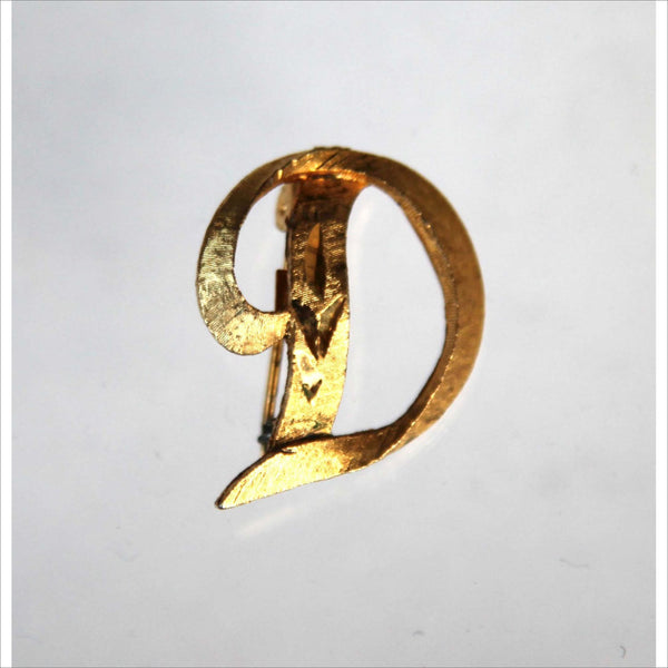 Vintage Brooch GOLD D Letter Initial  Monogram 60s Jewelry for Her Gold Finish Metal Copywrite Design