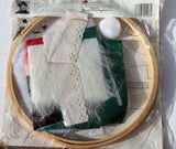Vintage Christmas Santa Hoop Framing Craft Art DIY Home Decor Holidays Lace Wood Hoop Fuzzy Beard and Pom Pom Red & White Hat 10 Inches NIB