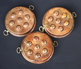 Vintage Copper Escargot Pans with Brass Handles for Serving Baking or Display French Gourmet Cuisine