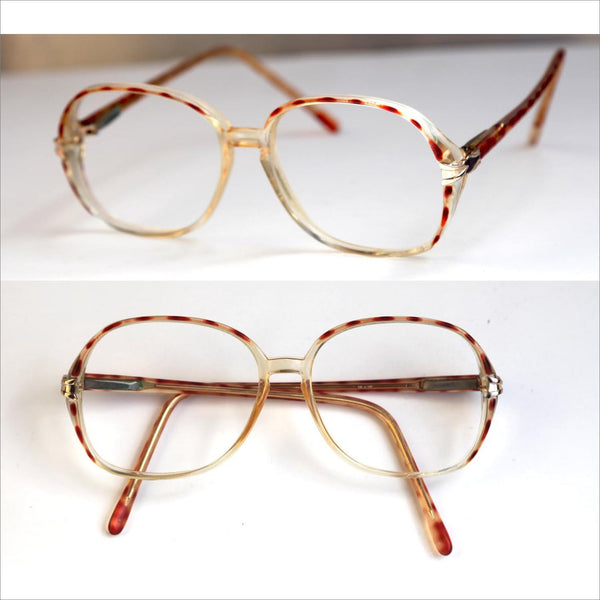 Vintage Eye Glasses for Womens RX Eyewear Big Round Spotty Stripe ROSE Tortoise Shell Color Bugeye Glasses