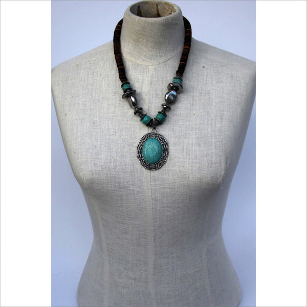 Vintage Faux Turquoise Necklace Silver Tone Pendant Necklace Wood Bead Coin Disks Boho Festival Chic