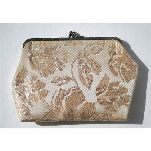 Vintage Mid Century Clutch Purse Brocade Fabric Wedding Ivory Shiny Fabric Evening Clutch Metal Clasp