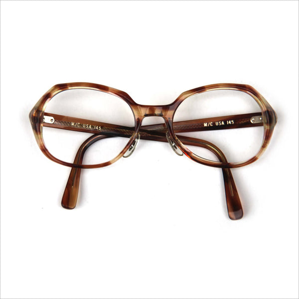 827272b74e Vintage Modified Round Thick Tortoise Shell Prescription Glasses with  Spotty Brown Frames M C USA