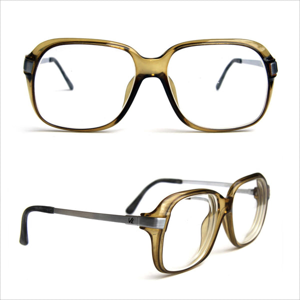 6eefdc7b7a8 Vintage Rx Rockabilly AVIATORS Brushed Stainless Thick Square Frames  Translucent Olive Plastic VIENNALINE AUSTRIA for Men