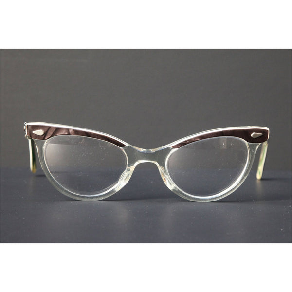 9f5fffdc37a Vintage Womens Glasses BROW HORNRIM CATEYE Rx Prescription Eyewear Dark  Brown and Clear