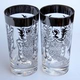 VITREON QUEENS Lusterware Sterling Silver Rim KiMIKO GUARDIAN Coat Of Arms Tumblers Mid Century Modern Barware