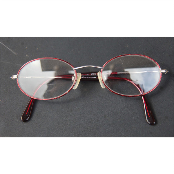 VOGUE Marble Red Wire Rim Eyewear Oval Rx Eye Glasses Metal Frames Steampunk Vintage Prescription Eyewear Made in ITALY