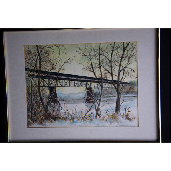 Watercolor Painting Landscape High Level Bridge Alberta Original Art Winter Scene Signed and Professionally Framed