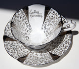 Wedding Anniversary QUEEN ANNE Silver Lace Bone China Platinum Traditional Footed Tea Cup & Saucer Collectible Gift Weddings Mom Dad