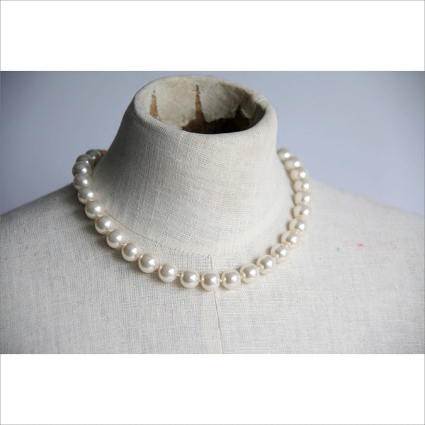 Wedding Pearl Choker Necklace Large Gold Round Clap Classic Choker Women's Formal or Casual