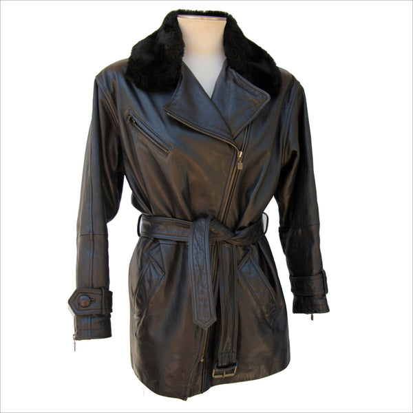 Womens Black Leather Trench Faux Firm Trim Cross Zipper Belted Biker Style Jacket with Puffy Shoulders