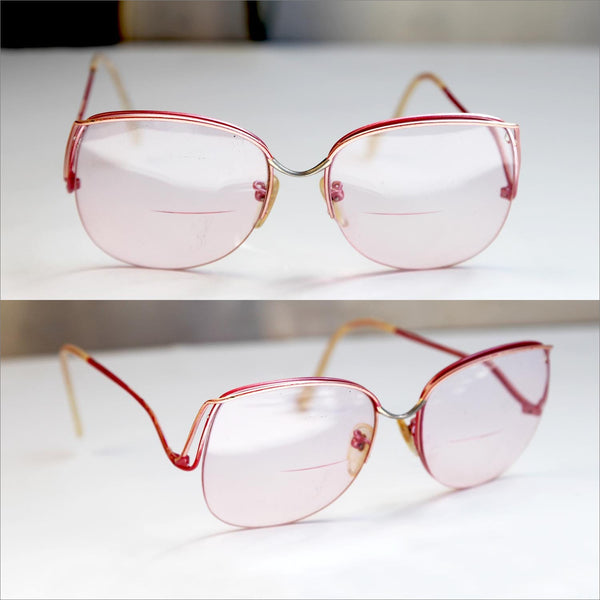 Womens PINK RX Eye Glasses Drop Arm Square Eyewear Big Over Sized Rx Eyeglasses Feminine Curve Swoop Drop Arm Wire Frame Brow Glasses